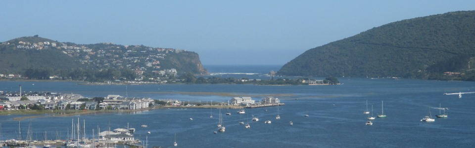 Knysna, Knysna Quays, the Knysna Estuary, The Heads and the Indian Ocean. View from our Westhill luxury Guest House.